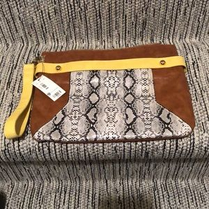 Snakeskin and Leather pouch or wristlet * NEW*